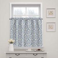 Waverly Donnington Damask 36-Inch Window Curtain Tier Pair in Cornflower