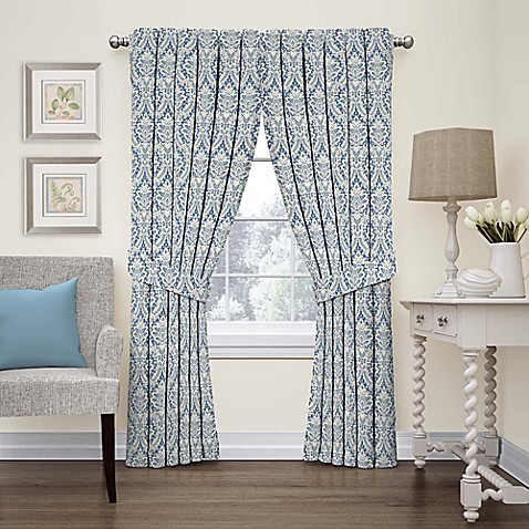 Waverly Donnington Damask Window Panel And Valance Bed