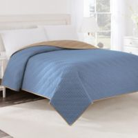 Martex® Two-Tone Twin Coverlet in Sky Blue/Khaki