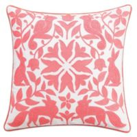 Chambray Dot Square Throw Pillow in Pink
