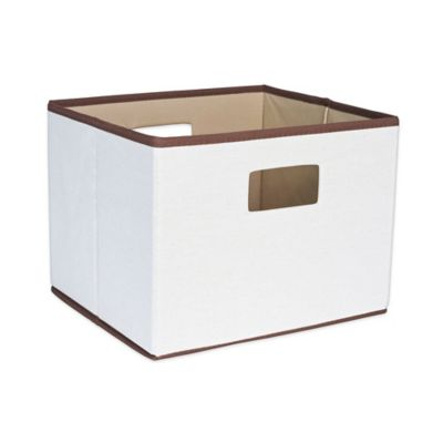 Household Essentials® Open Storage Bin With Cutout Handles In Natural Canvas  With Brown Trim