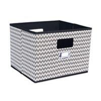 Household Essentials® Open Storage Bin with Cutout Handles in Black Chevron