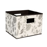 Household Essentials® Open Storage Bin with Cutout Handles in Taupe Floral