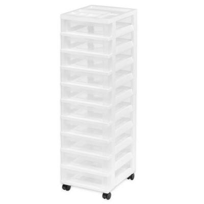 Superb 10 Drawer Rolling Storage Cart In White