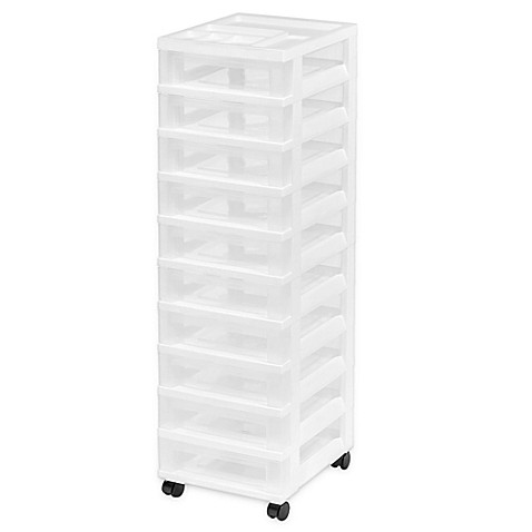 buy 10 drawer rolling storage cart in white from bed bath beyond. Black Bedroom Furniture Sets. Home Design Ideas