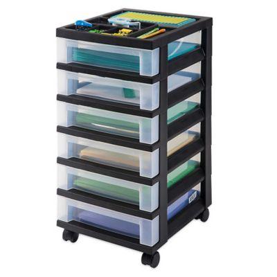 6 Drawer Rolling Storage Cart In Black
