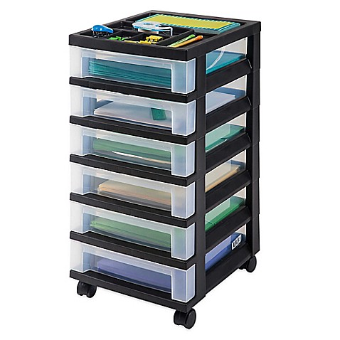 buy 6 drawer rolling storage cart in black from bed bath