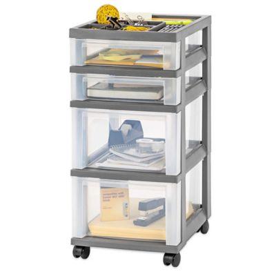 4 Drawer Rolling Storage Cart In Grey