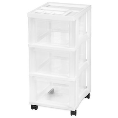 3-Drawer Rolling Storage Cart in White  sc 1 st  Bed Bath u0026 Beyond & Buy 3 Drawer Storage from Bed Bath u0026 Beyond