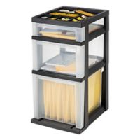 3-Drawer Filing Cart with Organizer Top in Black