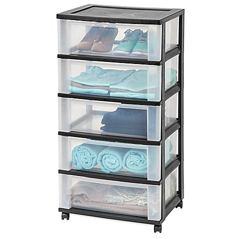 IRIS® 5 Drawer Wide Storage Cart In Black