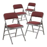 Flash Furniture Fabric 4-Pack Folding Chair in Burgundy/Grey