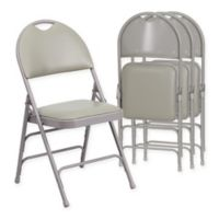 Flash Furniture Vinyl 4-Pack Folding Chair in Grey