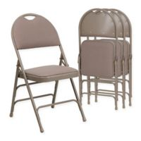 Flash Furniture Fabric 4-Pack Folding Chair in Beige