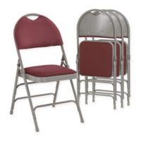 Flash Furniture Fabric 4-Pack Folding Chair in Burgundy/Grey