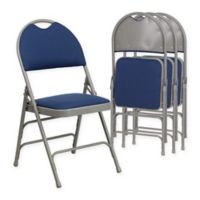 Flash Furniture Fabric 4-Pack Folding Chair in Navy/Grey