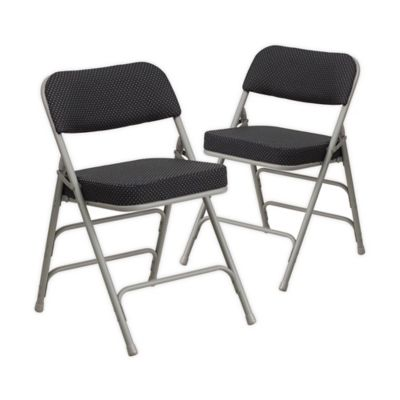Attractive Flash Furniture Hercules Padded Folding Chairs In Grey/Black (Set Of 2)