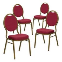 Flash Furniture HERCULES™ Padded Banquet Chairs in Burgundy/Gold (Set of 4)