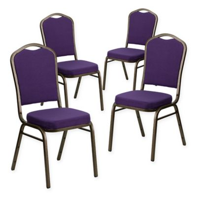 Flash Furniture HERCULES Fabric Banquet Chairs In Purple/Gold (Set Of 4)