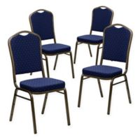 Flash Furniture HERCULES Fabric Banquet Chairs in Navy/Gold (Set of 4)