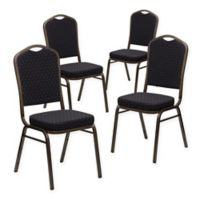 Flash Furniture HERCULES Fabric Banquet Chairs in Black/Gold (Set of 4)