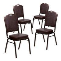 Flash Furniture HERCULES Vinyl Banquet Chairs in Brown (Set of 4)