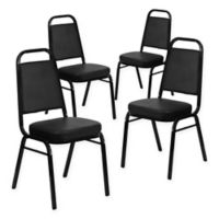 Flash Furniture Hercules Banquet Chair in Black Vinyl (Set of 4)