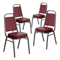 Flash Furniture Hercules Banquet Chair in Silver/Burgundy Vinyl (Set of 4)