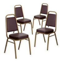 Flash Furniture Hercules Banquet Chair in Brown Vinyl (Set of 4)
