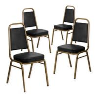 Flash Furniture Hercules Banquet Chair in Black Vinyl (Set of 4)