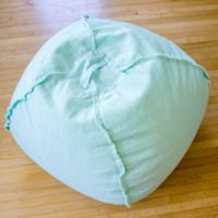 Large Canvas Bean Bag Chair with Exposed Seams in Mint