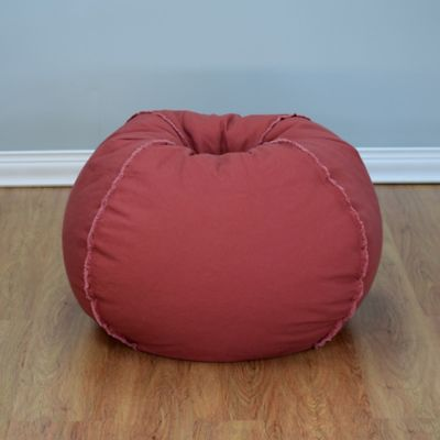 Large Canvas Bean Bag Chair With Exposed Seams In Marsala
