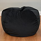 Large Textured Velvet Bean Bag Chair in Ebony