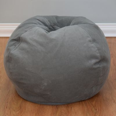 Medium Solid Corduroy Bean Bag Chair In Vintage Slate