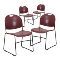 Flash Furniture Plastic Stack Chair in Burgundy (Set of 4)