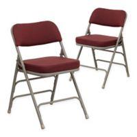 Flash Furniture Hercules Padded Folding Chairs in Burgundy/Grey (Set of 2)