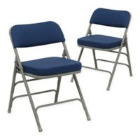 Flash Furniture Hercules Padded Folding Chairs in Navy/Grey (Set of 2)
