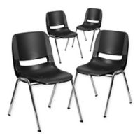 Flash Furniture 18-Inch Plastic Stack Chairs in Black (Set of 4)