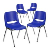 Flash Furniture 18-Inch Plastic Stack Chairs in Blue (Set of 4)