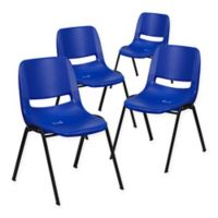 Flash Furniture Hercules Ergonomic Stack Chairs in Blue (Set of 4)