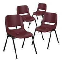 Flash Furniture Hercules Ergonomic Stack Chairs in Burgundy (Set of 4)