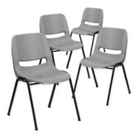 Flash Furniture Hercules Ergonomic Stack Chairs in Grey (Set of 4)