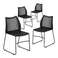 Flash Furniture Plastic Vented Stack Chairs in Black (Set of 4)