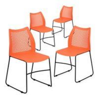 Flash Furniture Plastic Vented Stack Chairs in Orange (Set of 4)