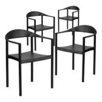 Flash Furniture Plastic Café Chair in Black (Set of 4)