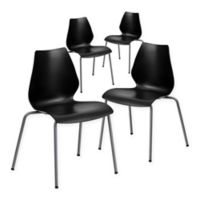 Flash Furniture Plastic Stack Chair in Black (Set of 4)