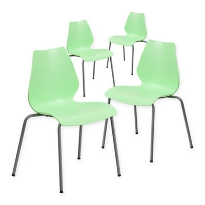 Flash Furniture Plastic Stack Chair In Green (Set Of 4)