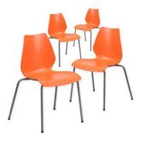 Flash Furniture Plastic Stack Chair in Orange (Set of 4)