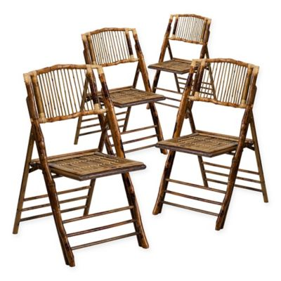 Flash Furniture Bamboo American Champion Folding Chairs In Brown (Set Of 4)