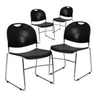 Flash Furniture Stacking Chairs in Black (Set of 4)